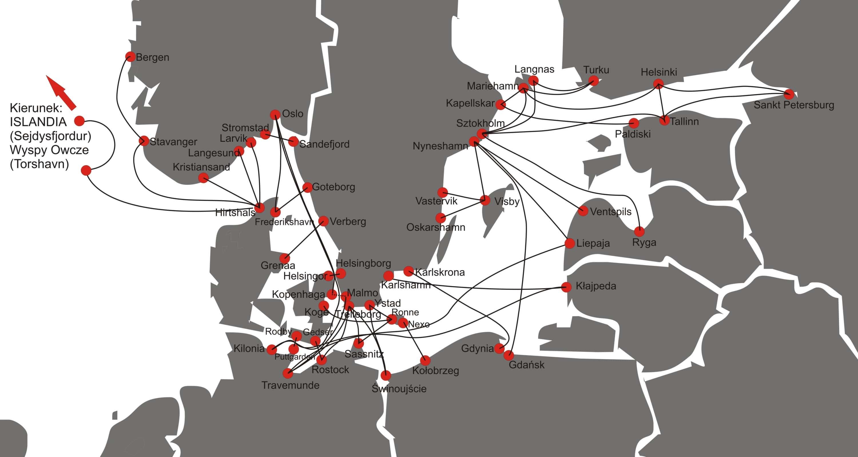 Mapa połączeń promowych